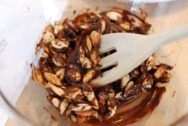 Step 4: Scoop the pumpkin seeds into balls and place them on a plate ...