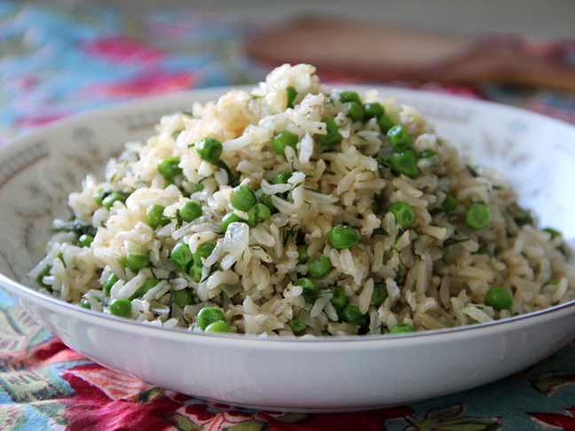Brown Rice Pilaf with Peas and Dill Recipe