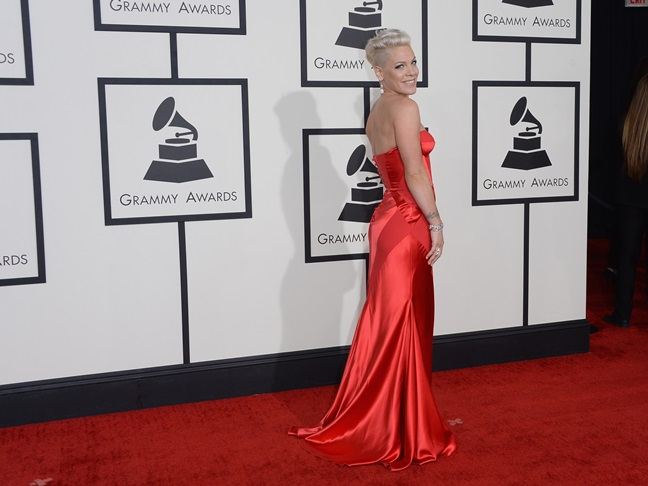 Pink red dress Grammys