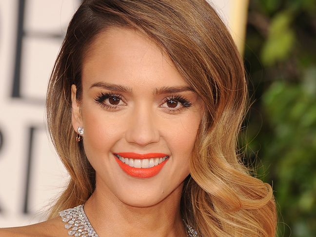 Jessica alba with old hollywood curly hair and orange lipstick