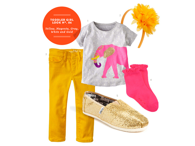 toddler girl style gold and pink