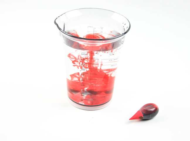 red food coloring water