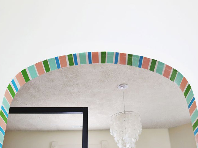 DIY Washi Tape Striped Doorway