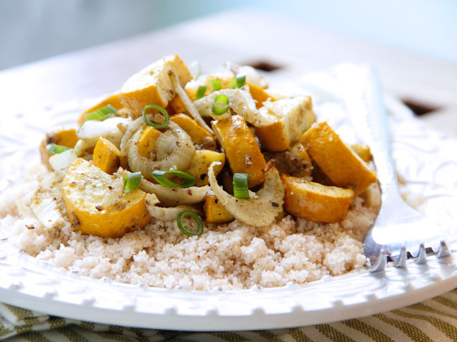 Cumin Roasted Zuchinni and Fennel with Couscous Recipe