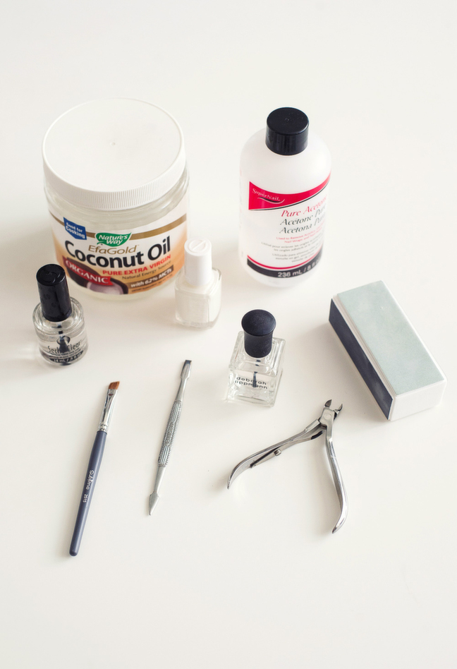 tools for an at home manicure, acetone, clippers etc