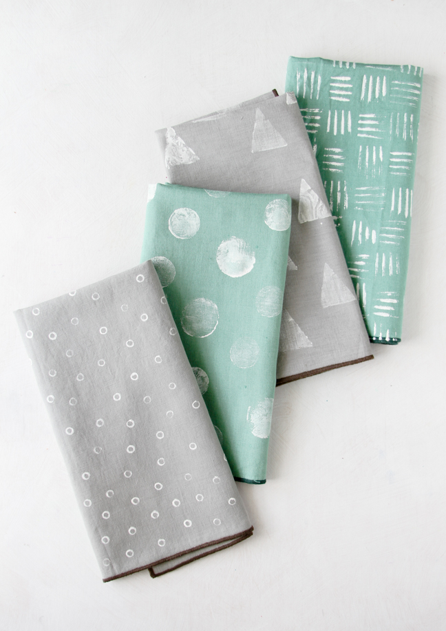 Stamped Napkins using common household items