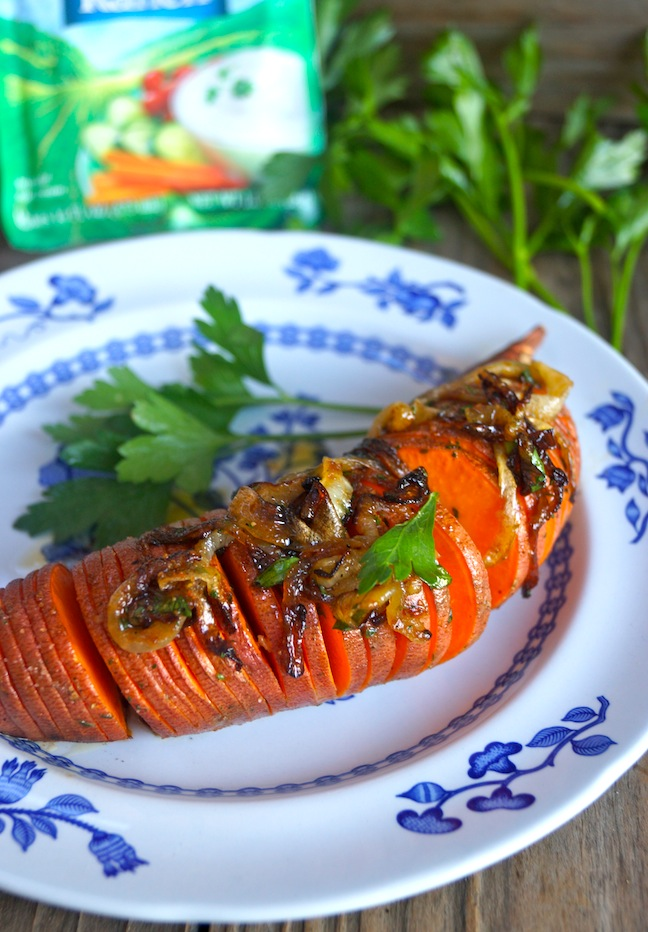 HVR-Roasted Hidden Valley Hasselback Sweet Potatoes Recipe with Caramelized Onions-HERO