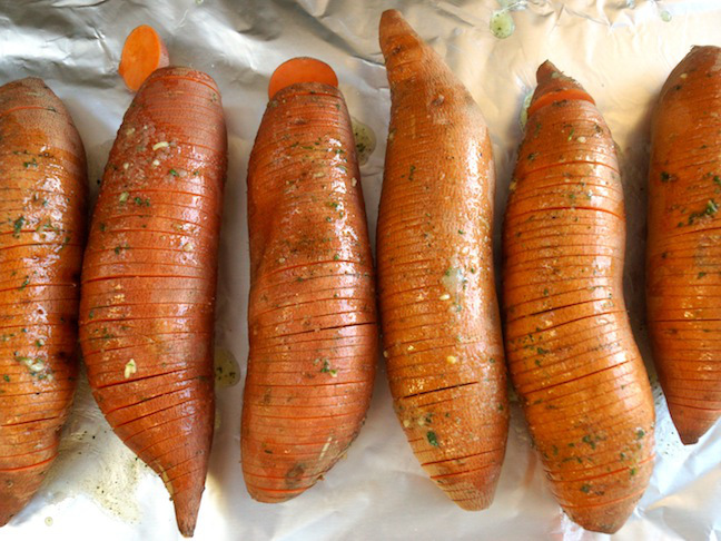 Roasted Hidden Valley Hasselback Sweet Potatoes Recipe with Caramelized Onions - Momtastic
