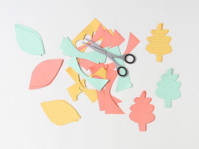 Cut leaves out of colorful paper