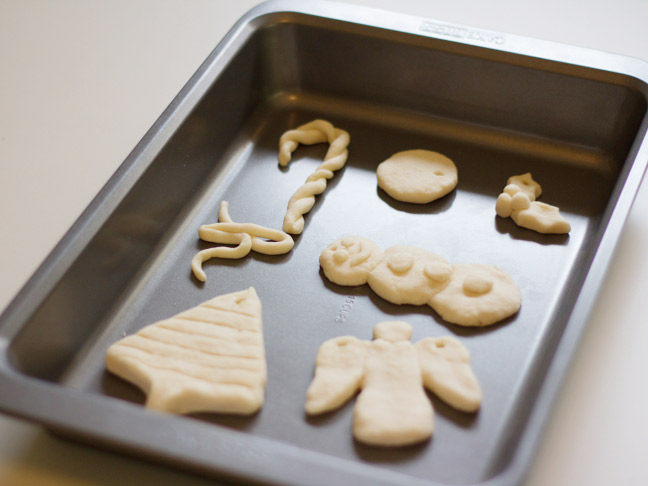 salt dough ornaments in baking sheet