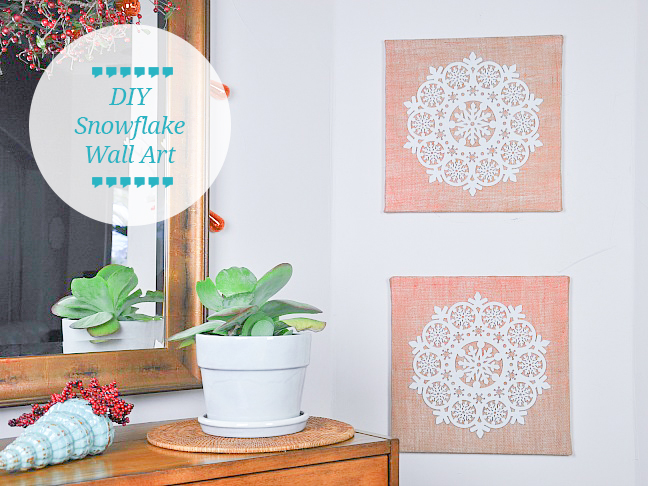 burlap snowflake wall art diy tutorial