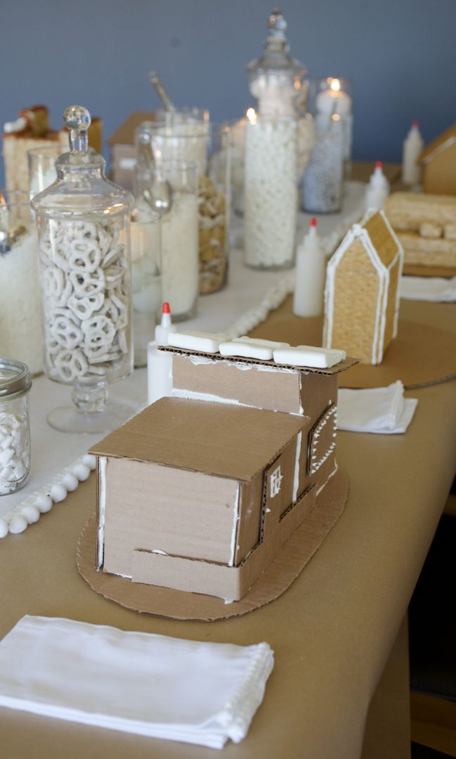 white gingerbread house party