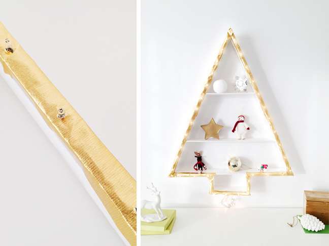 christmas tree alternative diy wall light christmas tree shelf