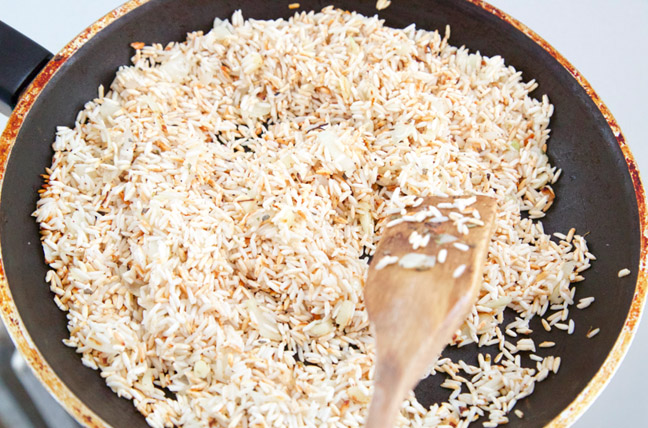 lightly browned rice