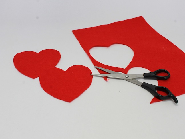 step 1 cut hearts from felt