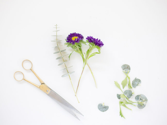 purple-flowers-gold-scissors-trimmed-stems