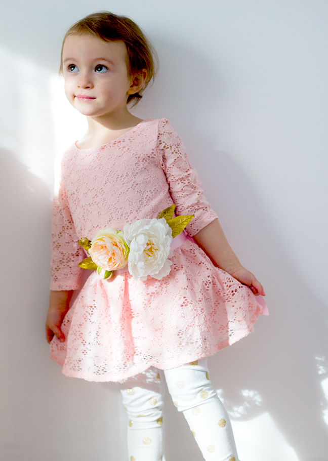 floral sash girl pink dress