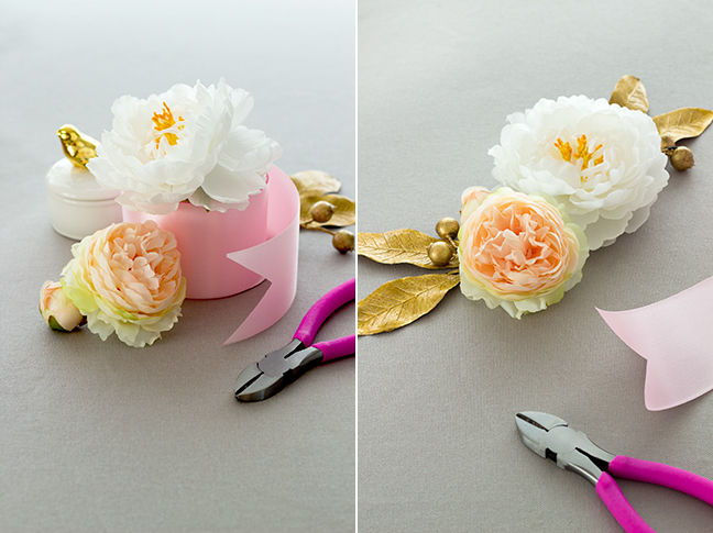 silk flowers pink ribbon