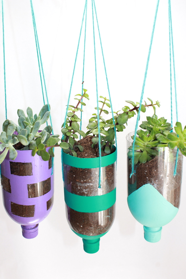 How to make hanging planters from recycled water bottles for Recycled water bottle crafts for kids
