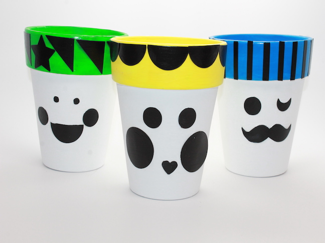 step 5 - flower pots with faces