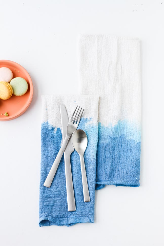 Dip Dyed DIY Napkins How To