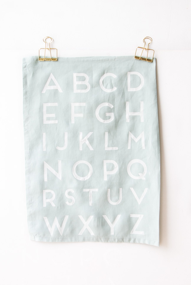 DIY // How to make alphabet printed tea towels.