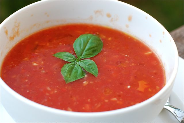 ... fresh veggies, chop, add to blender, blend...voila! Homemade gazpacho