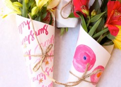 DIY Hostess Gift: Fresh Flowers Wrapped in Your Kids' Art