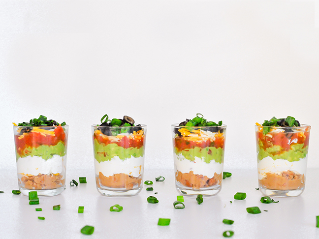 Mini Seven-Layer Dips Recipe for Game Day Deliciousness