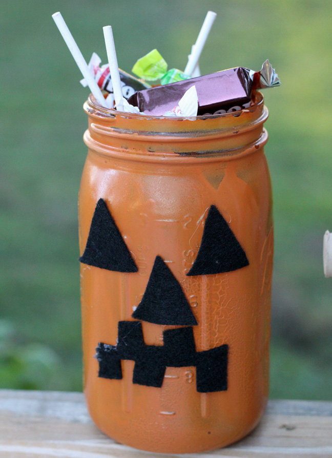 Mason Jar Jack o Lantern Monster