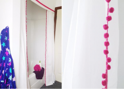 DIY No Sew Pom Pom Shower Curtain and Valance