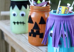 DIY Monster Jar Halloween Candy Holders