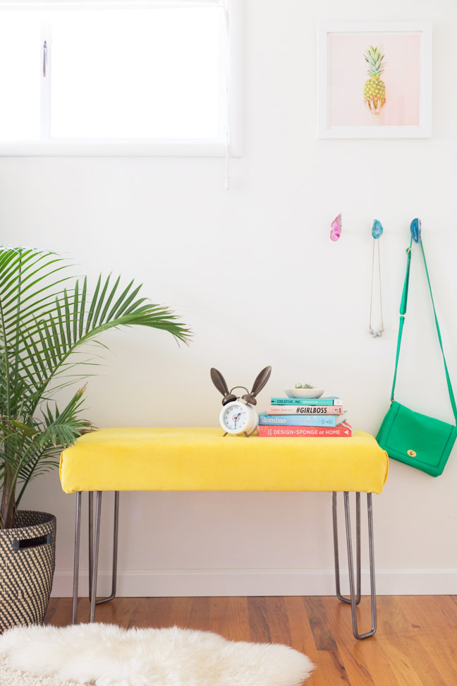 diy-yellow-velvet-bench1
