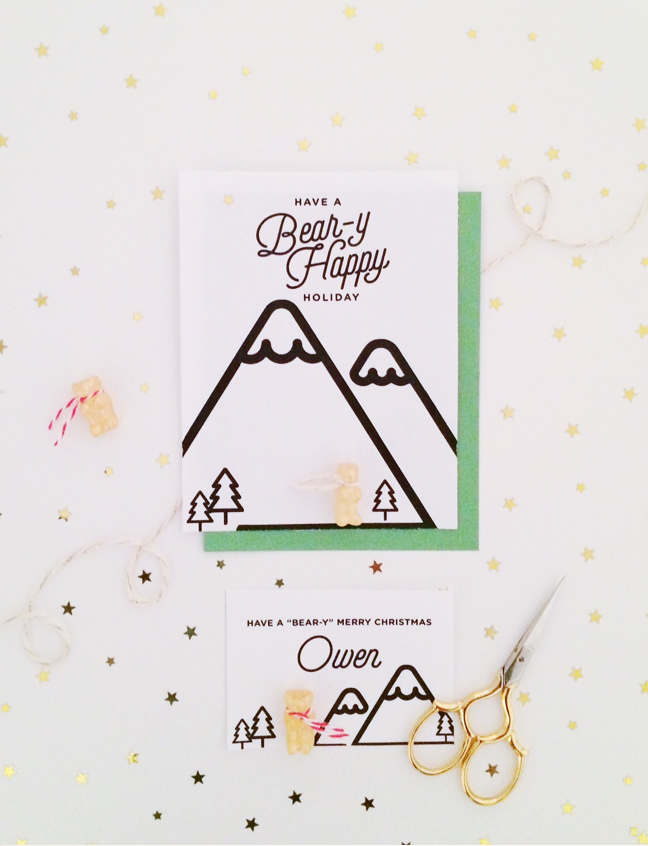 DIY Gummy Bear Holiday Greeting and Place Card Shauna Younge for Momtastic
