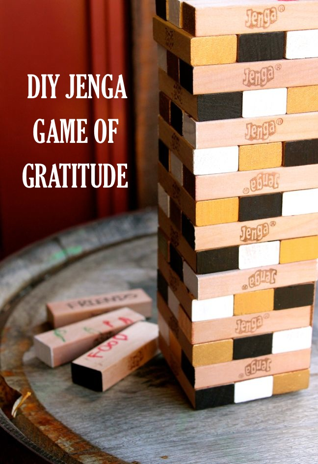 jenga game of gratitude for thanksgiving