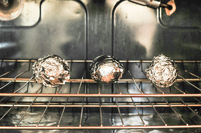 foil wrapped avocados in oven