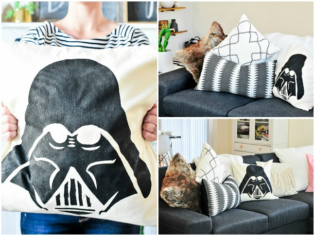 DIY Darth Vader Stenciled Throw Pillow