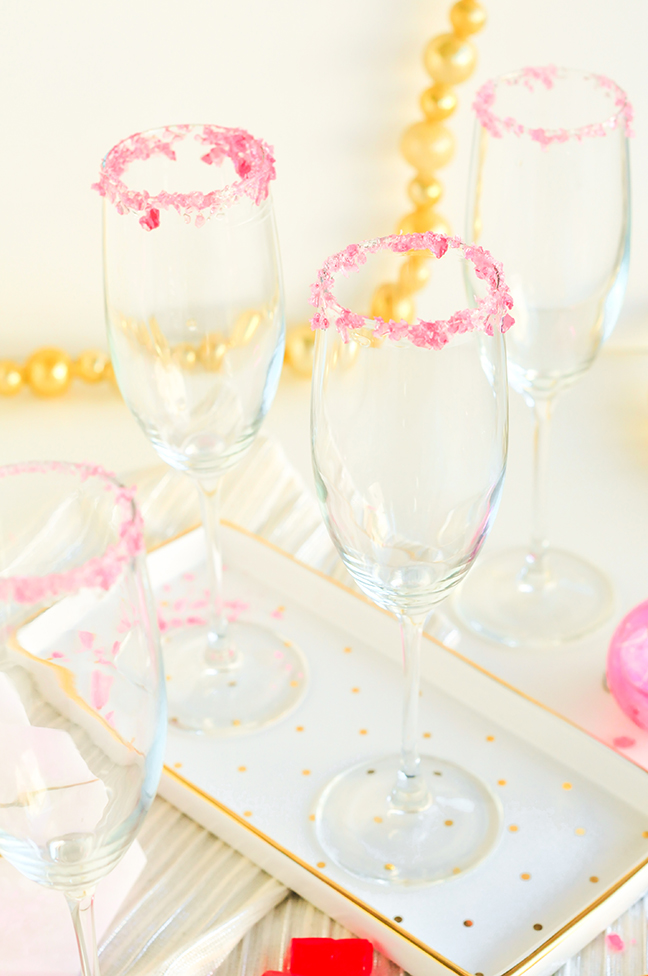 candied rim champagne flutes