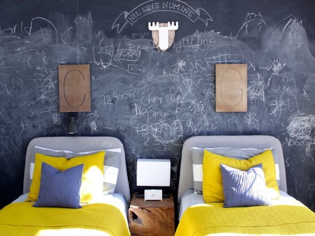Marvelous Chalkboard Wall Chalk Room Yellow Grey Antler Bed