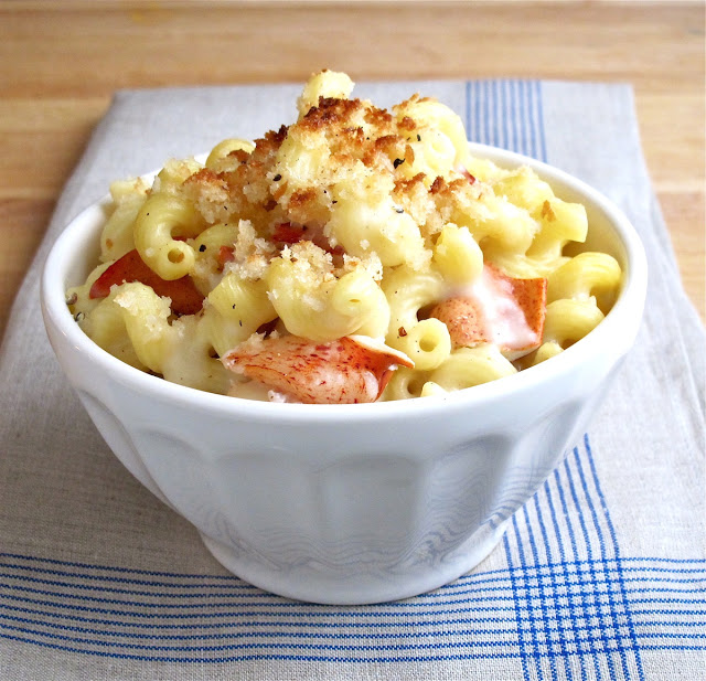 lobster mac and cheese in white bowl