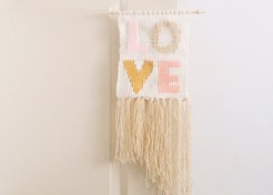 DIY Love Typography Woven Wall Hanging