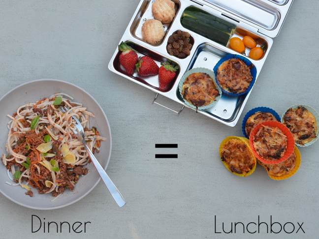 Recipes for using up dinner leftovers for the kids lunchbox