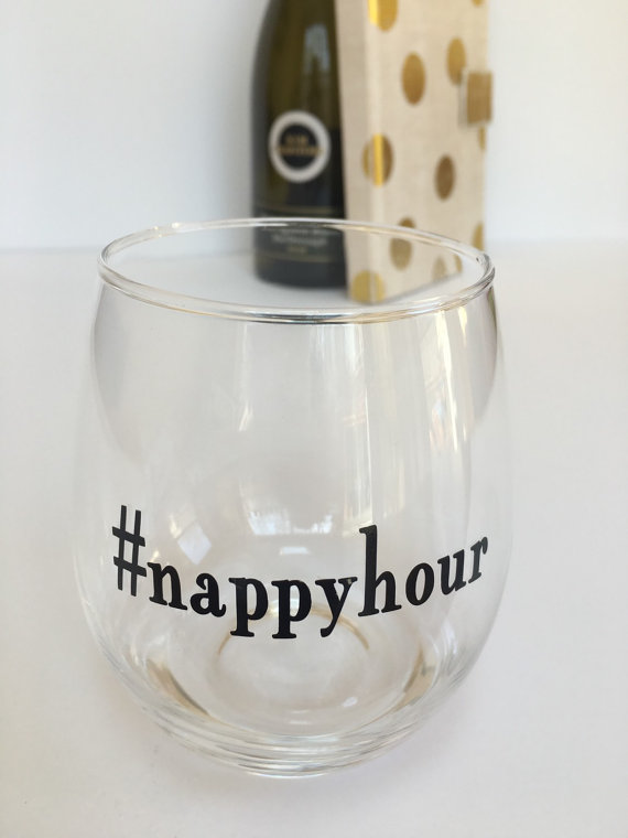 nappy hour wine glass