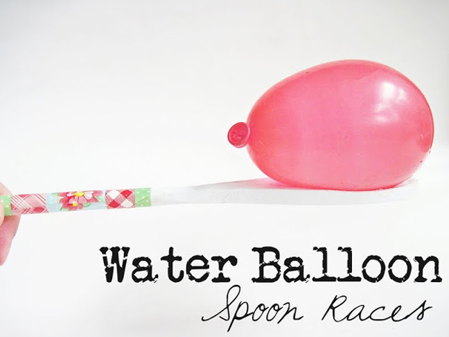 water balloon spoon races