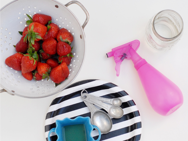 strawberries pink spray bottle