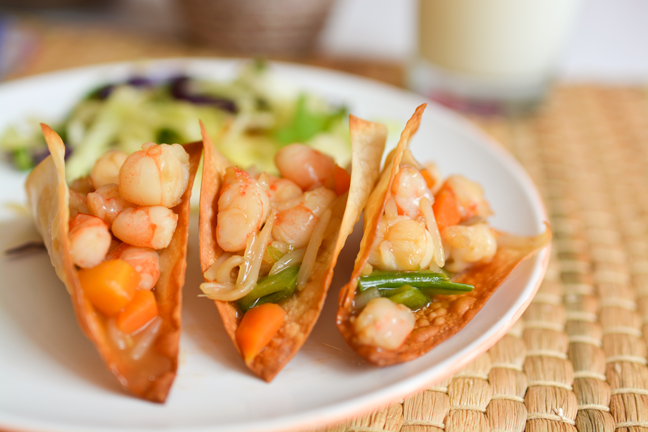 Make these mini Prawn Won Ton Tacos! This taco recipe is super fast and easy and is a great weeknight meal idea!