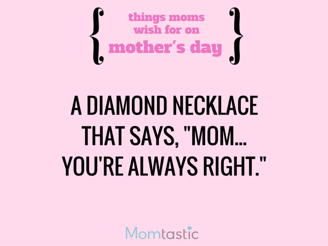 Things Moms Wish for on Mothers Day via @itsMomtastic by @letmestart A message necklace and other LOLs for moms | Funny Mother's Day gift guide