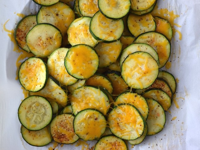 roasted zucchini slices with melted cheese