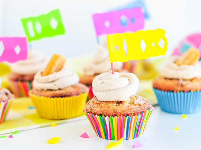churro cupcakes bright paper wrappers