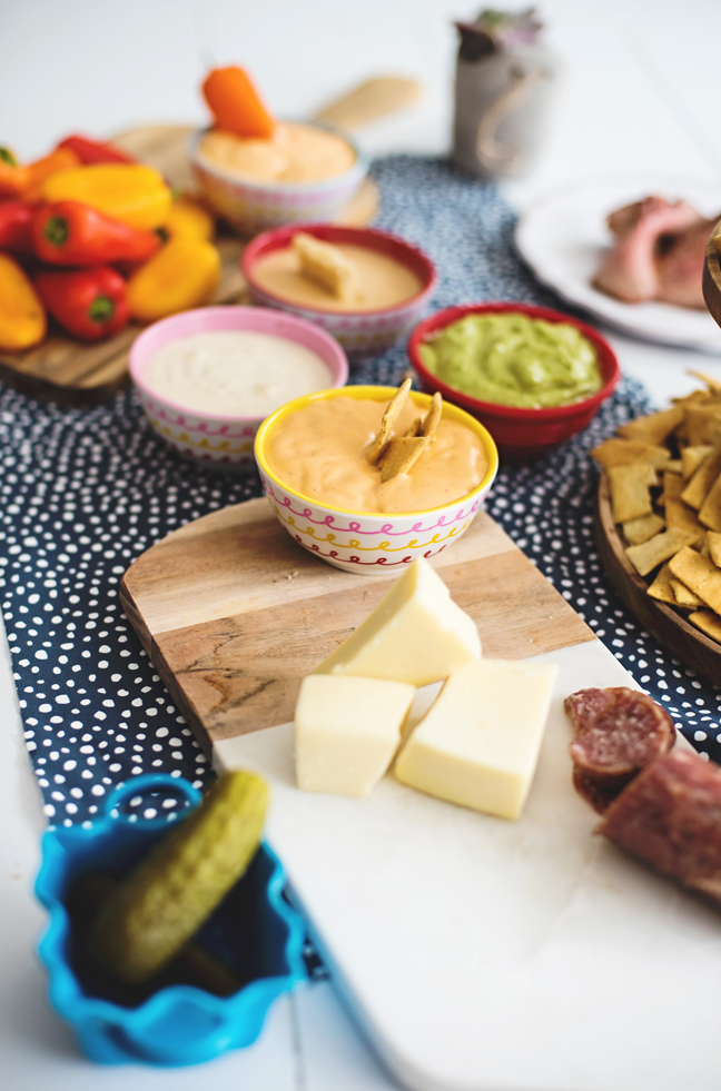 dips with cheese salami peppers
